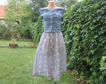 Long Polka Dots Skirt Vintage / Gray / White /  EUR38 / 40 / 42 / UK10 / 12 / 14
