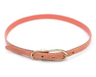 Salmon-color Snakeskin Belt