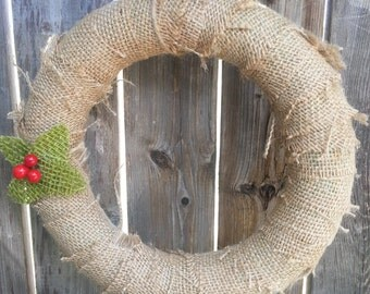 ONE handmade hanging burlap wreath