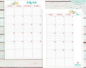 A5 Size 12 Month Calendar 2016, Month on Two Pages, Monthly, Instant Download Printable, Print At Home