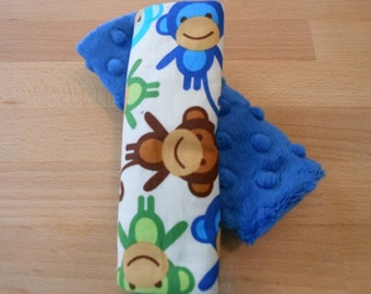 Royal Monkeys Infant/Toddler Reversible Car Seat Strap Covers (choice of minky)
