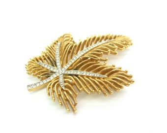 Crown Trifari Brooch. Gold Tone Fringed Leaf Pin. Pavé Rhinestones. 1950s Vintage Jewelry.