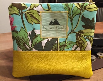 Floral Yellow Leather Pouch