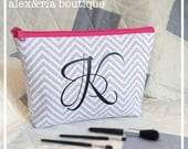 Monogram Makeup Bag Gray Chevron Bridesmaid Maid of Honor Gift Personalized Medium Travel Pouch Open Wide Zippered Cosmetic Bag Graduation