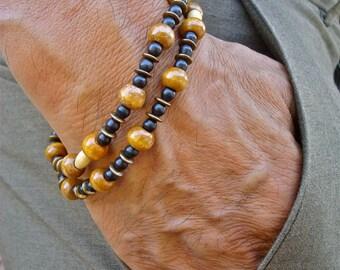 Men's Convertible Bracelet/Necklace with Black Turquoise Howlite, Honey Mala Wood Beads, Antique Brass, Double Bracelet, Hippie Man Bracelet