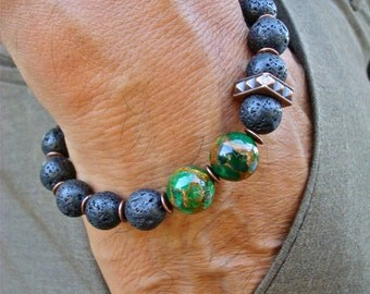 Men's Spiritual Protection, Strength, Wisdom, Courage Bracelet with Semi Precious Green Mosaic Quartz, Lava, Wood and Copper, Bohemian Man