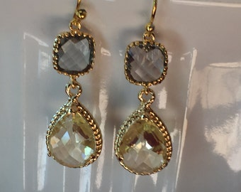 Gray (grey) and yellow dangle earrings, gray and yellow wedding, bridesmaid jewelry, crystal earrings