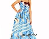 Blue Floral Maxi Dress Chiffon Women Dress Plus Size Cute Dress Fancy Xmas Gift
