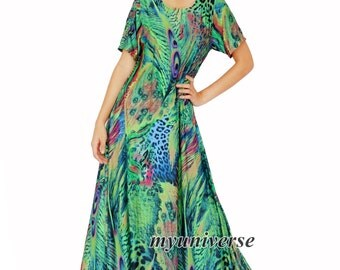 Sleeves Dress Maxi Dress Dress Party Coast Print Gift For Her Green Peacock