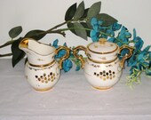 Cumbow Pottery 1930s-1940s POCAHONTAS Gold & Off-White Lidded Sugar, Creamer Set / Signed, Handpainted / FREE US Shipping