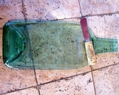 Pale Green Recycled  Wine Bottle Appetizer Plate