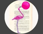 Flamingo Art Print Pink Wall Decor Bird Watercolor Painting Acrylic on paper: Flamingo with bubblegum