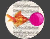Goldfish with bubblegum- ORIGINAL ARTWORK Hand Painted Mixed Media on 1920 famous Parisien Magazine 'La Petit Illustration'