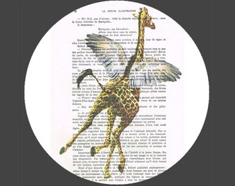 Drawing Illustration Digital Print Mixed Media  Art Poster Acrylic Painting Holiday Decor Drawing Gifts: Giraffe flying