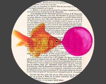 Goldfish with bubblegum- ORIGINAL ARTWORK Hand Painted Mixed Media on 1920 famous Parisien Magazine 'La Petit Illustration'