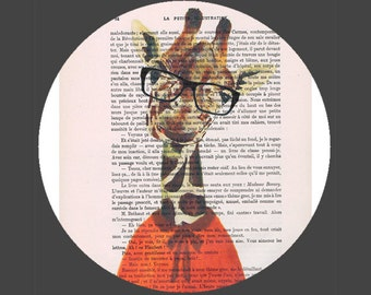 Giraffe Print Illustration Drawing, Original, Art Poster, Mixed Media, Kids, Wall Decor, Dictionary Dorm Nursery