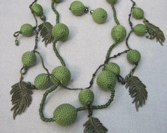 Two Strands Green Thread Wrapped Beads and Leaves Boho Influenced Necklace