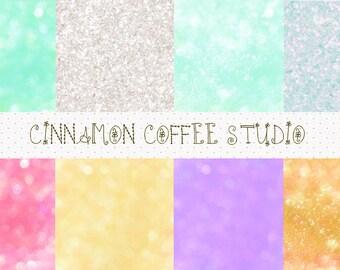 Bokeh Digital Papers, Sparkle Rainbow Tones Bokeh Texture, Fairy Dust Backgrounds, Bokeh Backgrounds, set of 8