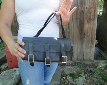 Vintage Evening black leather MOTORCYCLE fork bag purse pocketbook