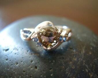 Hallie - Genuine Chocolate Diamond & Sapphire Engagement Ring - Rose Cut Heart Diamond -925 Sterling Silver Ring - OOAK Women's Wedding Ring