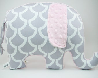 Modern gray and pink nursery decor, Elephant Pillow toy, grey and pink