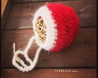 Soft fluffy mohair Christmas santa bonnet hat. Newborn. Great photo prop