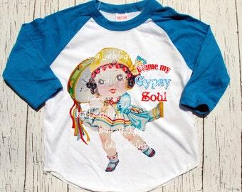 "Gypsy girls tshirt childrens raglan baseball style tshirt ""Blame my Gypsy Soul."" Gypsy Soul Shirt"