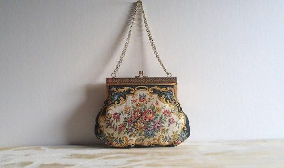 vintage petit point handbag / evening bag. needlepoint.