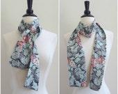 Vintage floral skinny neck scarf / boho head scarf