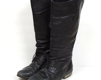 Vintage L.L. Bean black laceup tall slouchy leather riding boots