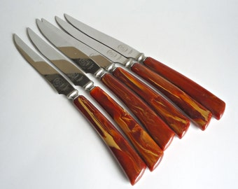 6 Bakelite Steak Knives by Glo-Hil GloHil Mid Century Knife Flatware Cutlery Set 1950's