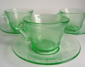 3 Green Florentine #2 Cup and Saucer Depression Glass  Hazel Atlas 1930's