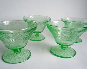 4 Green Florentine Sherbets Depression Glass  Hazel Atlas 1930's