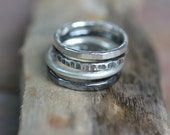 Silver Stacking Rings -- Set of 4 Hammered, Textured, Oxidized Fine Silver Stacking Rings