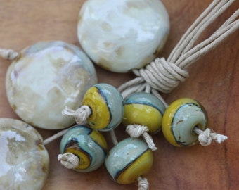 Knotted Natural Hemp Statement Necklace with Ceramic Discs & Lampwork Glass Beads Silver Lock Clasp Yellow Beige