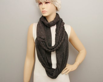 Dark grey  infinity Scarf braided  ,viscose jersey loop scarf