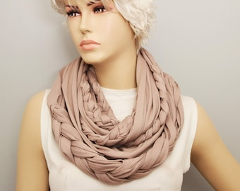 Beige loop infinity Scarf braided  ,viscose jersey loop scarf