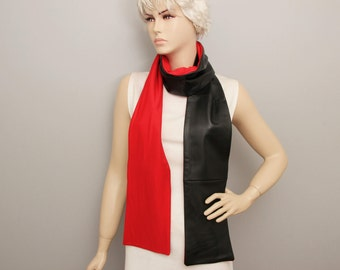 GENUINE lambs LEATHER unisex long  scarf, BLACK