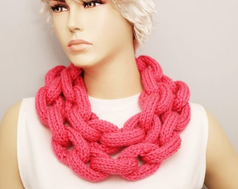 Coral crocheted lariat scarf , Knited chain ring hoop  necklace lariat scarf ,long lariat scarf