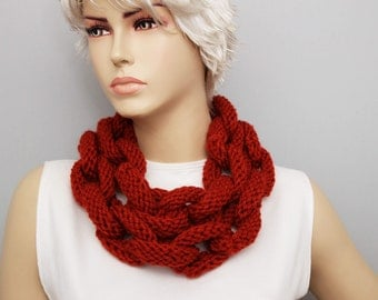 terra-cotta brick crocheted lariat scarf , Knited chain ring hoop  necklace lariat scarf ,long lariat scarf