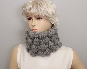 Grey modern look knit  neckwarmer in grey , knit loop scarf  , winter scarf, woman winter scarf ,
