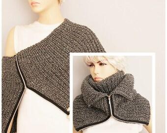 Grey modern look knit  neckwarmer and capelt shawl in grey , knit loop scarf  , winter scarf, woman winter scarf ,
