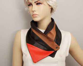 Genuine  leather neckwarmer with snaps and  lining ,man  NECKWARMER  with snaps , men scarf ,Purple and ivory