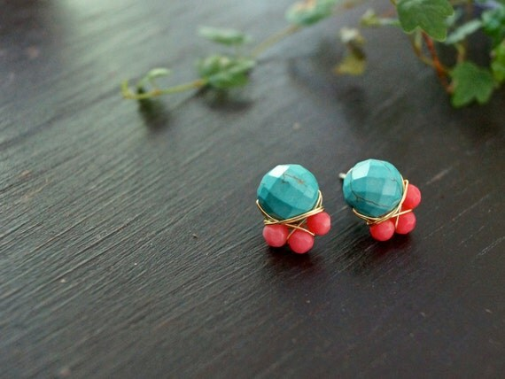 Turquoise howlite and pink coral cluster stud earrings