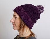 Knit Hat Woman, Slouchy Knit Hat, Knit Beanie, Hand Knit Pom Pom Hat, Knit Beanie, Mens Knit Beanie, Chunky Knit Beanie