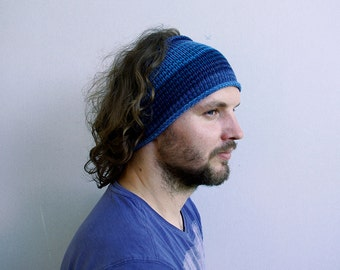 Mens Headband Knitted, Headband, Guys knit hair wrap - striped blue  Adults Dread band, Tube Hat Dreadlock