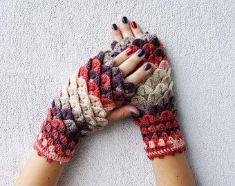 Fingerless gloves Fingerless mittens Knit gloves Boho glove mittens Girl's wool fingerless gloves Dragon scale gloves in cinnamon brown