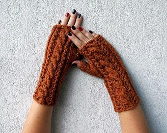 Fingerless Gloves Knit, Fingerless glove mittens,Cabled Fingerless Gloves, Half Finger Gloves, Wrist Warmers in rusty cinnamon orange