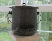 Gray enamel ware stock pot, chamber pot, pail with lid