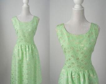 Vintage Dress, Vintage Green Dress, 1960s Green Dress, Retro 60s Green Dress, 1960s Floral Dress, Sleeveless Retro Dress, Rockabilly Dress